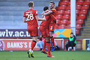 GOAL Joe Edwards celebrates scoring 1-1 during the EFL Sky Bet League 1 match between Walsall and Rochdale at the Banks's Stadium, Walsall, England on 2 February 2019.