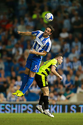 Lewis Dunk of Brighton & Hove Albion heads the ball - Mandatory by-line: Jason Brown/JMP - 13/09/2016 - FOOTBALL - Amex Stadium - Brighton, England - Brighton & Hove Albion v Huddersfield Town - Sky Bet Championship