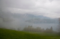 Mt. Rigi, Central Switzerland. Misty hill and lake landscape as seen from the Rigi train.