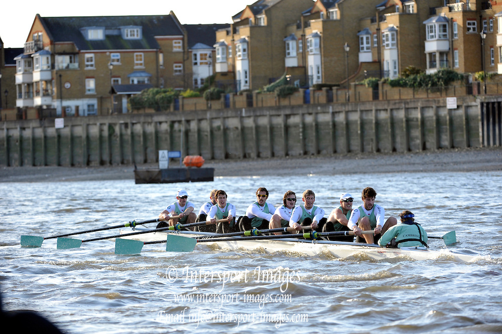 "Putney, GREAT BRITAIN, Cambridge crew Cloak, approaching Chiswick Pier, Cambridge UBC. {CUBC} Trial Eights Race  2011  Varsity Trial Eights raced over the championship course, River Thames.. Putney to Mortlake,  Tuesday  13/12/2011  [Mandatory Credit, Peter Spurrier/Intersport-images]..Crews. .NAME OF BOAT: ""Cloak"" Surrey Station.Bow: Felix Wood. 2: Peter Dewhurst. 3: Sam Lloyd. 4: Josh Pendry. 5: Joel Jennings. 6: Moritz Schramm. 7: Jack Lindemann. Stroke: Alexander Scharp. Cox: Sarah Smart"