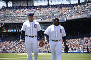 DETROIT, MI - JUNE 19: Miguel Cabrera (L) and Prince Fielder (R) of the Detroit Tigers head to the dugout during the game against the Baltimore Orioles at Comerica Park on June 19, 2013 in Detroit, Michigan. Orioles won 13-3. (Photo by Joe Robbins)