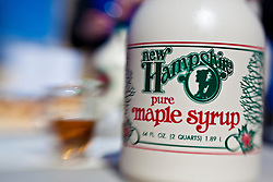 New Hampshire maple syrup bottle at the Remick Farm in Tamworth, New Hampshire.