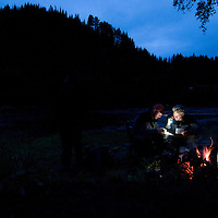 Flyfishing by River Orkla, Rennebu, Norway<br /> Model name: Patrik Karsson, Krister Hoel, Stefan Enevoldsen - valid model release by photographer