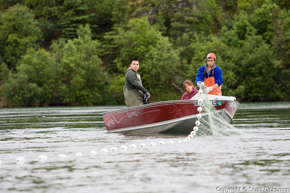 Native Alaskans subsistence fishing for Bristol Bay sockeye salmon on the Newhalen river, over 100 miles from the Bay.