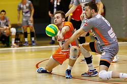 20150311 BEL: Challenge Cup Precura Antwerpen - of Volley Behappy2 Asse-Lennik, Antwerpen<br />Dirk Sparidans (7) of Volley behappy2 Asse - Lennik, Robbert Andringa (6) of Volley behappy2 Asse - Lennik<br />©2014-FotoHoogendoorn.nl / Pim Waslander