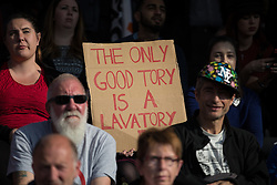© Licensed to London News Pictures . 04/10/2015 . Manchester , UK .  A demonstration against the Conservative government , organised by The People's Assembly , at Castlefield Bowl in Manchester , during the first day of the Conservative Party Conference in Manchester . Photo credit: Joel Goodman/LNP