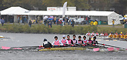 Cambridge, USA, Youth men' eights,    Westminster school passing under the John Weeks footbridge during the  2009 Head of the Charles  Sunday  18/10/2009  [Mandatory Credit Peter Spurrier Intersport Images],.