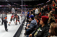Fans watch as Calgary Flames defenseman Travis Hamonic and Anaheim Ducks forward Corey Perry fight during a 2017-2018 NHL hockey game in Anaheim, California, the United States, on Oct. 9, 2017.  Calgary Flames won 2-0. (Xinhua/Zhao Hanrong)