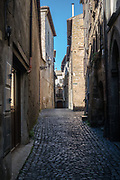 Orvieto cobble street empty at mid day.  Italy, 2017.