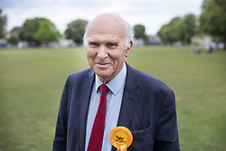 © Licensed to London News Pictures. 28/04/2017. London, UK. Liberal Democrat Vince Cable poses for a photograph as he launches his election campaign from Twickenham Green in a bid to return to Parliament.  Photo credit: Peter Macdiarmid/LNP