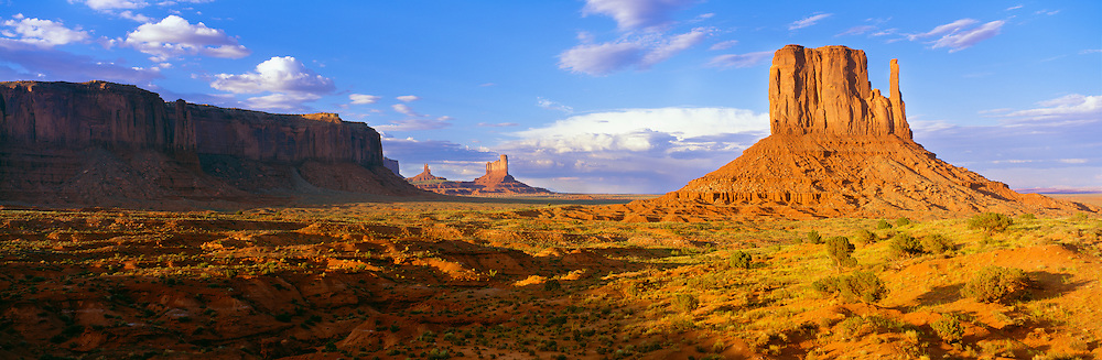 0195-1061 ~ Copyright: George H. H. Huey ~ Monument Valley. The West Mitten Butte at sunrise. Monument Valley Tribal Park Utah/Arizona.