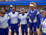 Hampton University Lady Pirates pre-game prayer prior to their doubleheader split against Morgan State University at the Lady Pirates Softball Complex on the campus of Hampton University in Hampton, Virginia.  (Photo by Mark W. Sutton)