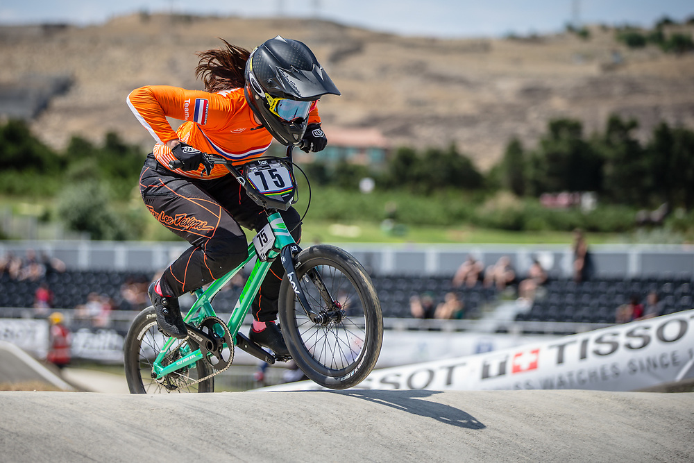 Women Elite #75 (VAN BENTHEM Merle) NED at the 2018 UCI BMX World Championships in Baku, Azerbaijan.