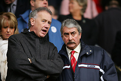 LIVERPOOL, ENGLAND - SATURDAY FEBRUARY 5th 2005: Liverpool's Chairman David Moores (R) and Cheif-Executive Rick Parry watch their side's 3-1 victory over Fulham during the Premiership match at Anfield. (Pic by David Rawcliffe/Propaganda)