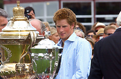 HRH PRINCE HARRY presents the Coronation Cup to LUKE TOMLINSON at the Cartier International polo at Guards Polo Club, Windsor Great Park, on 30th July 2006.<br /><br />NON EXCLUSIVE - WORLD RIGHTS