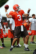 BEREA, OH - AUGUST 3:  Quarterback Derek Anderson #3 of the Cleveland Browns unloads a pass during training camp at the Cleveland Browns Training and Administrative Complex on August 3, 2006 in Berea, Ohio. ©Paul Anthony Spinelli *** Local Caption *** Derek Anderson