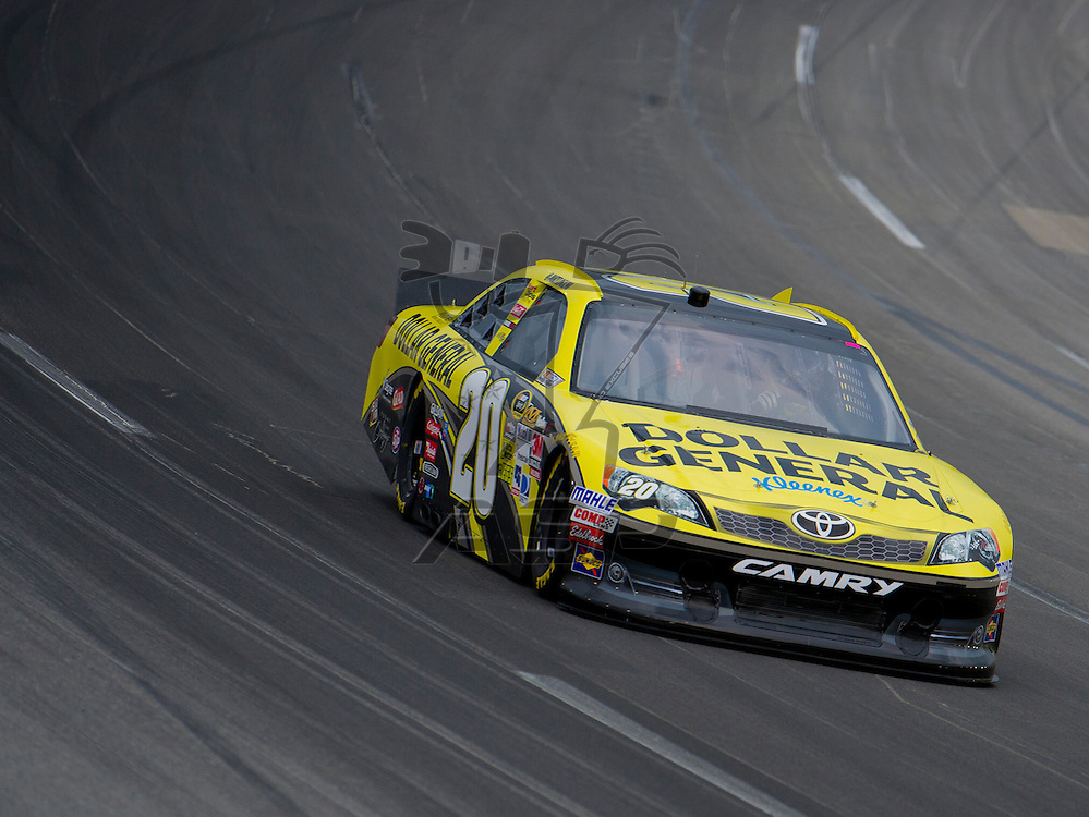 Sparta, KY - JUN 29, 2012: Joey Logano (20) during qualifying for the Quaker State 400 at Kentucky Speedway in Sparta, KY.