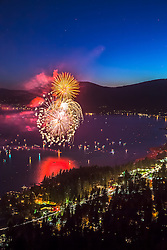 """Kings Beach Fireworks 2"" - Photograph of the 4th of July fireworks show above Kings Beach, Lake Tahoe."