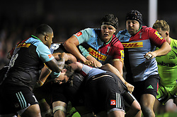 Charlie Matthews of Harlequins in action at a maul - Mandatory byline: Patrick Khachfe/JMP - 07966 386802 - 06/11/2015 - RUGBY UNION - The Twickenham Stoop - London, England - Harlequins v Sale Sharks - Aviva Premiership.