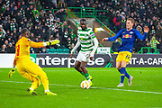 Odsonne Edouard (#22) of Celtic FC scores a goal to make the score 2-1 during the Europa League group stage match between Celtic and RP Leipzig at Celtic Park, Glasgow, Scotland on 8 November 2018.