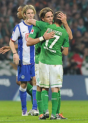 25.09.2011, Weserstadion, Bremen, GER, 1.FBL, Werder Bremen vs Hertha BSC, im Bild Jubel bei Aleksandar Ignjovski (Bremen #17) und Clemens Fritz (Bremen #8)..// during the match Werder Bremen vs Hertha BSC on 2011/09/25, Weserstadion, Bremen, Germany..EXPA Pictures © 2011, PhotoCredit: EXPA/ nph/  Frisch       ****** out of GER / CRO  / BEL ******