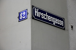 SWITZERLAND ZURICH 3MAR12 - Hirschengasse street sign in Zurich city centre, Switzerland. ....jre/Photo by Jiri Rezac....© Jiri Rezac 2012