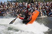 World champion kayaker, 2007 riverfest winner and Reno resident Jay Kincaid competes during the reno river festival