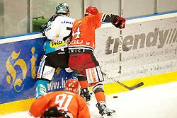 during ice-hockey match between HK Acroni Jesenice and EHC Liwest Black Wings Linz in 43rd Round of EBEL league, on Januar 17, 2012 at Dvorana Podmezaklja, Jesenice, Slovenia. (Photo By Urban Urbanc / Sportida)
