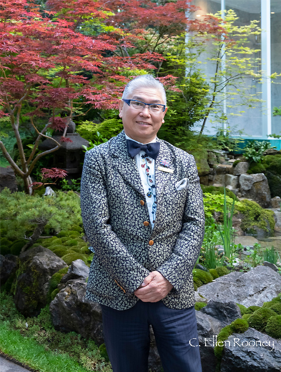 Kazyuki Ishihara designer of the Green Switch Garden and winner of a gold medal in the artisan gardens category at the RHS Chelsea Flower Show 2019, London, UK