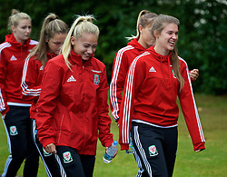 CARDIFF, WALES - Friday, August 19, 2016: Wales' Charlie Estcourt and Claire Skinner during a pre-match walk at the Vale Resort ahead of the international friendly match against Republic of Ireland. (Pic by David Rawcliffe/Propaganda)