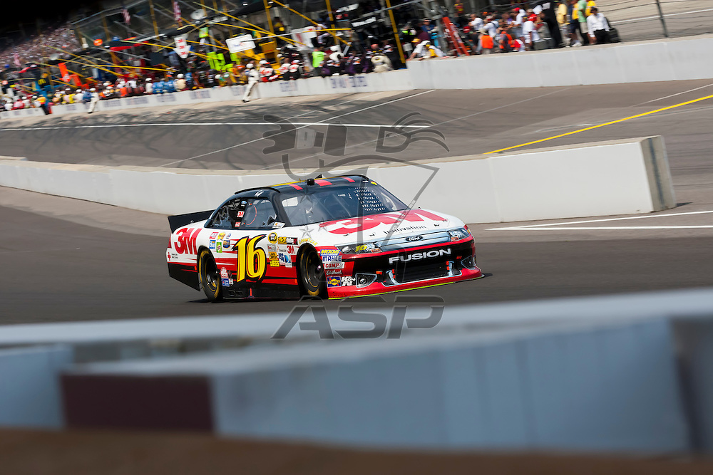 INDIANPOLIS, IN - JUL 29, 2012:  Greg Biffle (16) races during the Curtiss Shaver 400 presented by Crown Royal at the Indianapolis Motor Speedway in Indianapolis, IN.
