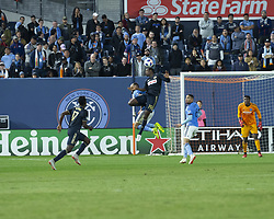 October 31, 2018 - New York, New York, United States - Maxime Chanot (4) of NYCFC & Cory Burke (19) of Philadelphia Union fight for ball during knockout round game at Yankees stadium NYCFC won 3 - 1  (Credit Image: © Lev Radin/Pacific Press via ZUMA Wire)