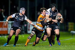 Guinness PRO14, The Gnoll, Neath, UK 30/11/2019<br /> Ospreys vs Toyota Cheetahs<br /> Dan Evans of Ospreys is tackled by William Small-Smith of Toyota Cheetahs.<br /> Mandatory Credit ©JMP/Rogan Thomson