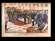 Nicholas II and Alexandra Feodorovna at St Petersburg, 29 April 1904, receiving the heroic sailors, survivors from the 'Varyag' and the 'Korietz', Russo-Japanese War. From 'Le Petit Journal', Paris, 8 May 1904.