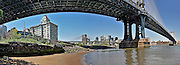 Panoramic view of the Manhattan bridge from the little beach of DUMBO, Brooklyn, New York, 2009.