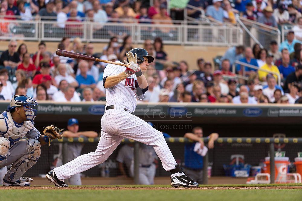 Justin Morneau #33 of the Minnesota Twins bats against the Kansas City Royals on June 27, 2013 at Target Field in Minneapolis, Minnesota.  The Twins defeated the Royals 3 to 1.  Photo by Ben Krause