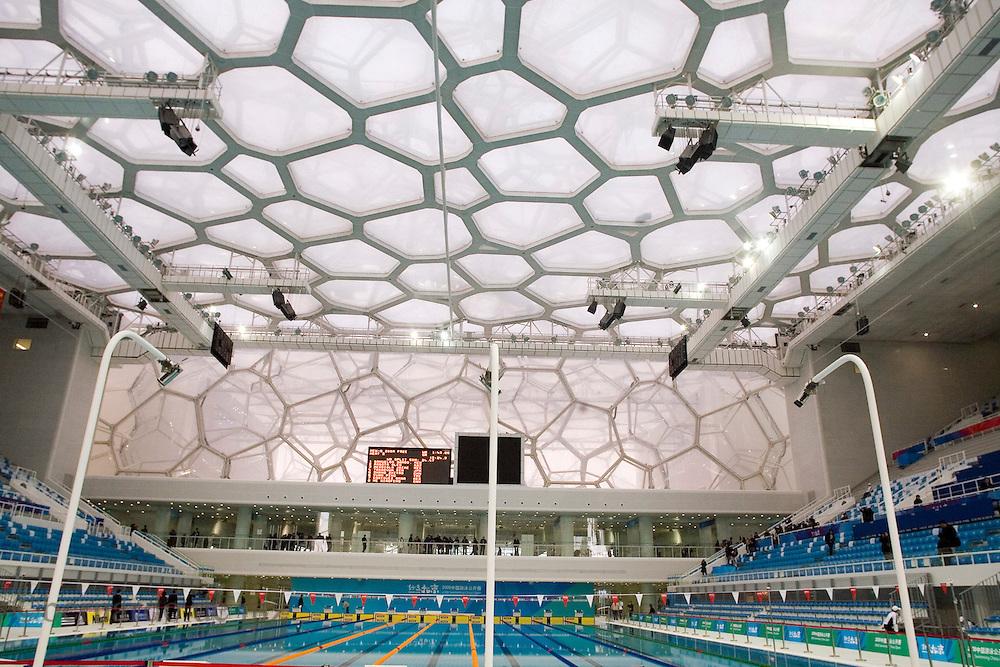 View of theNational Aquatic Center, the Water Cube in the Olympics green in Beijing, China, on Monday,  January. 28, 2008. Photographer: Bernardo De Niz