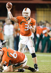 Miami (FL) quarterback Kyle Wright (3) passes against UVA.  The #19 Virginia Cavaliers defeated the Miami Hurricanes 48-0 at the Orange Bowl in Miami, Florida on November 10, 2007.  The game was the final game played in the Orange Bowl.
