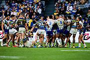Tempers flare. Parramatta Eels v Vodafone Warriors. NRL Rugby League. Bankwest Stadium, Sydney, Australia. 27th July 2019. Copyright Photo: David Neilson / www.photosport.nz