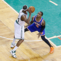26 April 2013: New York Knicks shooting guard J.R. Smith (8) defends on Boston Celtics small forward Paul Pierce (34) during Game Three of the Eastern Conference Quarterfinals of the 2013 NBA Playoffs at the TD Garden, Boston, Massachusetts, USA.