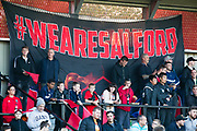 Salford fans during the EFL Cup match between Salford City and Leeds United at Moor Lane, Salford, United Kingdom on 13 August 2019.