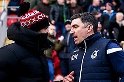 Bristol Rovers coach Kevin Maher shakes hands with Rotherham United manager Paul Warne - Mandatory by-line: Robbie Stephenson/JMP - 18/01/2020 - FOOTBALL - Aesseal New York Stadium - Rotherham, England - Rotherham United v Bristol Rovers - Sky Bet League One