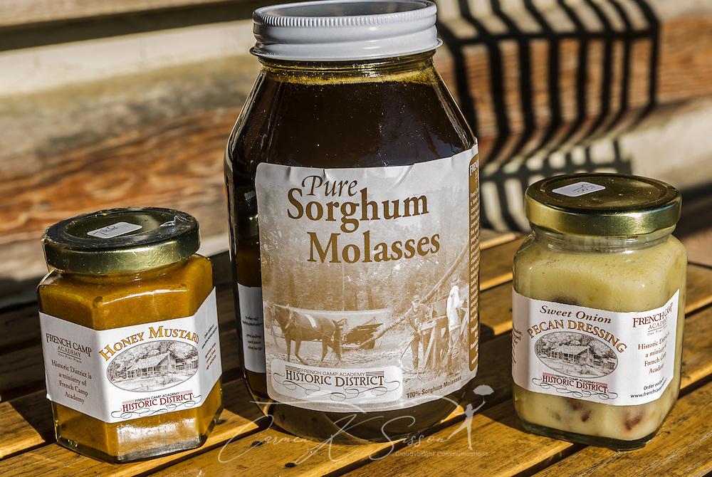 French Camp's Log Cabin Gift Shop sells locally-made items, including sorghum molasses, honey mustard, sweet onion pecan dressing and breads made onsite. (Photo by Carmen K. Sisson/Cloudybright)