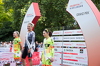 Women Grand Prix Winners on the podium at the Prudential RideLondon FreeCycle, Saturday 1st August 2015. <br /> <br /> 1st Place Barbara Guarischi<br /> 2nd Place Shelley Olds<br /> 3rd Place Annalisa Cucinotta<br /> <br /> Prudential RideLondon is the world&rsquo;s greatest festival of cycling, involving 95,000+ cyclists &ndash; from Olympic champions to a free family fun ride - riding in five events over closed roads in London and Surrey over the weekend of 1st and 2nd August 2015. <br /> <br /> Photo: Paul Gregory<br /> <br /> See www.PrudentialRideLondon.co.uk for more.<br /> <br /> For further information: Penny Dain 07799 170433<br /> pennyd@ridelondon.co.uk