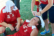 SO Poland athletes rest while halftime of football women match 7-a-side during fourth day of the Special Olympics World Games Los Angeles 2015 on July 28, 2015 at Balboa Sports Centre in Los Angeles, USA.<br /> USA, Los Angeles, July 28, 2015<br /> <br /> Picture also available in RAW (NEF) or TIFF format on special request.<br /> <br /> For editorial use only. Any commercial or promotional use requires permission.<br /> <br /> Adam Nurkiewicz declares that he has no rights to the image of people at the photographs of his authorship.<br /> <br /> Mandatory credit:<br /> Photo by © Adam Nurkiewicz / Mediasport