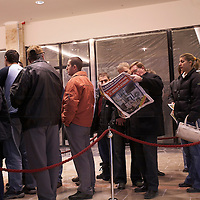 Customers standing in queue to get in the Electro World soon to be opened in shopping cetner Arena Plaza in Budapest, Hungary. Wednesday, 14. November 2007. ATTILA VOLGYI