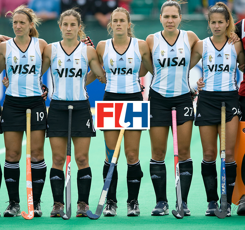 Argentina's Marine Russo, Rosario Luchetti, Carla Rebecchi, Noel Barrionuevo and Giselle Kanevsky at the anthems before the  Women's Champions Trophy Final at Highfields, Beeston, Nottingham, 18th July 2010.