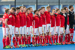 England line up for the national anthem. England v Argentina - Hockey World League Semi Final, Lee Valley Hockey and Tennis Centre, London, United Kingdom on 18 June 2017. Photo: Simon Parker