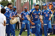 Rohit Sharma leading his team out onto the field during match 19 of the Karbonn Smart Champions League T20 between the Perth Scorchers and the Mumbai Indians held at the Feroz Shah Kotla Stadium, Delhi on the 2nd October 2013. Photo by Jacques Rossouw-CLT20-SPORTZPICS <br /> <br /> Use of this image is subject to the terms and conditions as outlined by the CLT20. These terms can be found by following this link:<br /> <br /> http://sportzpics.photoshelter.com/image/I0000NmDchxxGVv4