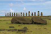 Ahu Tongariki, restored 1992, Easter Island (Rapa Nui), Chile<br />